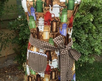Womens full Apron, Coffee drinks apron