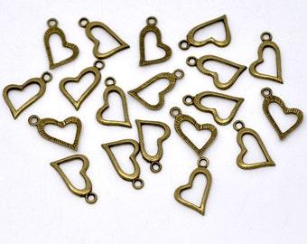 Antique Bronze Heart Charms Pendants 20x11mm