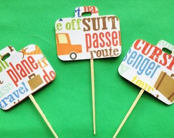 Travel - Destination Suitcase Cupcake Toppers - Set of 12