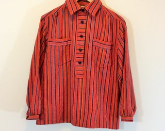 "boho red striped shirt blouse ""Dej&Mej""Sweden 60s-70s"