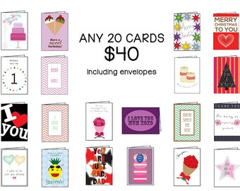 Twenty Card Set, Choose ANY 20 cards | Discount Variety Set