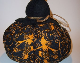 Pumpkin with Black and Orange Halloween Print Fabric