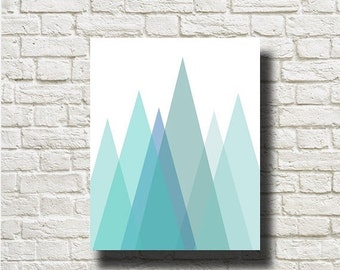 70%OFF Geometric Mountains Green Blue Print Printable Instant Download Abstract Poster Wall Art Home Decor GF012