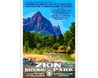 "Zion National Park WPA style poster. 13"" x 19"" Original artwork, signed by the artist. FREE SHIPPING!"