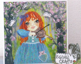 Violin Girl Art Greeting Card 120mm x 120mm  from original mixed media painting by wendy wadge