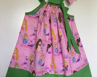 Sale! Sale! Custom Made Pillowcase Dress-Licensed Princesses Fabric w/ Solid Lime Hem& Ribbon 2T Ready to Ship w/mayching hairbow