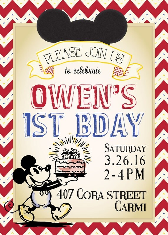 Classic Vintage Mickey Mouse Birthday Invitation
