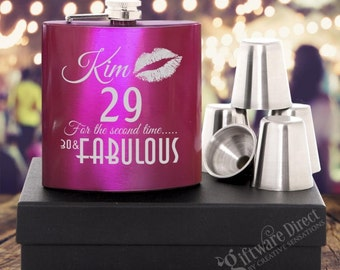 Personalised Birthday 7oz Pink Hip Flask Gift Set Engraved Stainless