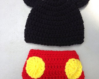 Mickey Mouse Hat and Diaper Cover Newborn Baby Photo Prop