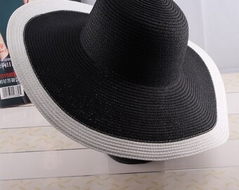 Black White Sun Hat Elegant Classic Style Woman Wide brimmed Hat