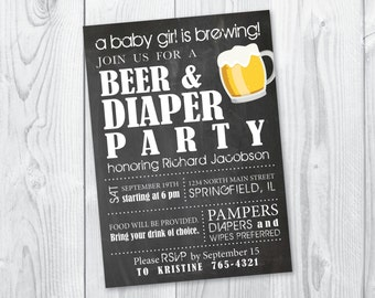 Diaper Party / Beer & Diaper Party / Mens Baby Shower / Printable / DIY Diaper Party Invitation /