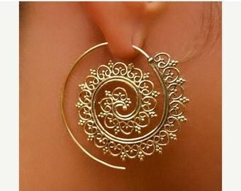 ON SALE 15% OFF Brass Earrings - Brass Spiral Earrings - Gypsy Earrings - Spiral Jewelry - Brass Jewelry - Ethnic Earrings - Ethnic Jewelry