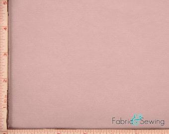 "Dusty Pink Tulle Illusion Knit Fabric Nylon 108"""
