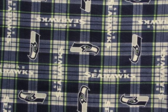 seattle seahawks football plaid anti pill polar fleece plush fabric polyester 13 oz 58 60. Black Bedroom Furniture Sets. Home Design Ideas