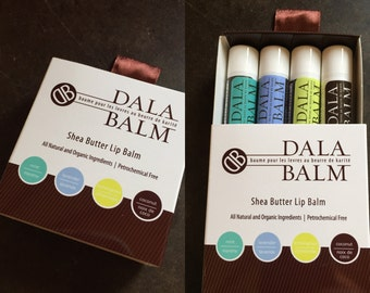 Package of 4 Luxurious Dala Balm Co  Lip Balms