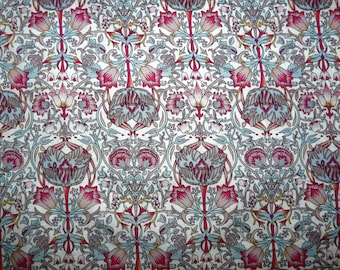 Fabric - Pink William Morris style print, pima cotton lawn - dressmaking