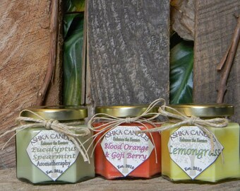3 Candle Gift Pack: Lemongrass, Blood Orange & Goji Berry, Eucalyptus Spearmint! small candles, aromatherapy candle, lemon candle, citrus