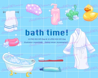 Digital Download Clipart – 10 Bathtime Tub and Shower Clipart JPEG and PNG files