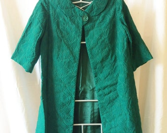 Coat vintage, emerald green, made by a seamstress, T 36 / 38.