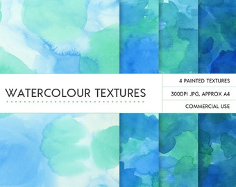 Watercolor backgrounds - green blue teal and turquoise