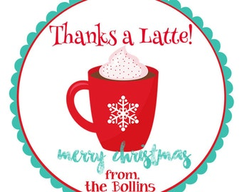 Thanks a Latte tags-Christmas stickers-Thanks a Latte stickers