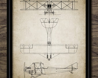Biplane Aircraft Patent Print - 1919 Aircraft Design - Aeroplane - Aviation Art - Single Print #2045 - INSTANT DOWNLOAD
