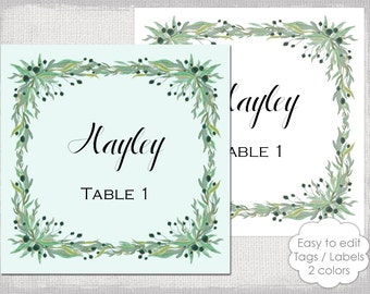 Gold place card template chevron name cards diy for 2x2 label template
