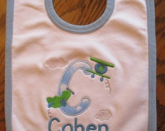 Airplane Bib and Burpcloth Set, Personalized Baby Bib,  Embroidered Baby bib, Baby bib with Airplanes and name