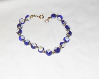 SALE Blue Cobalt glass bracelet, Blue flower bracelet, Boho, Hipster, blue glass beads, Gift for her, Gingerslittlegems