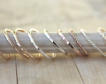Mix and Match Stacking Rings | Stackable Ring Set | Dainty Silver Twist Ring | Thin Rose Gold Ring  [Mix & Match Ring Set: 0.8mm width]
