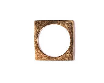 Square band Minimalist ring   Geometry Simple Everyday jewelry   Minimal Contemporary Casual accessories    Geometric gold plated jewels