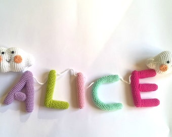 Baby name banner, crochet custom name banner for nursery, personalized name sign