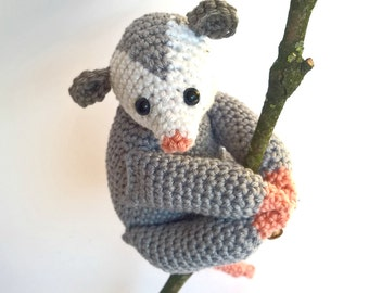 Opossum Stuffed Animal, Opossum Plush, Crochet Opossum, Opossum Toy, Amigurumi Crochet Animal, Stuffed possum