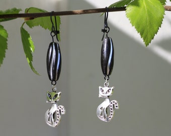Black Cat earring - a pair