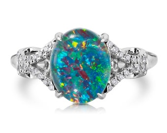 Natural Opal Ring 18k White Gold & .12ct Genuine Diamonds RARE Coober Pedy Mine Black Opal Triplet 10x8mm Fashion Birthstone AnniversaryRing