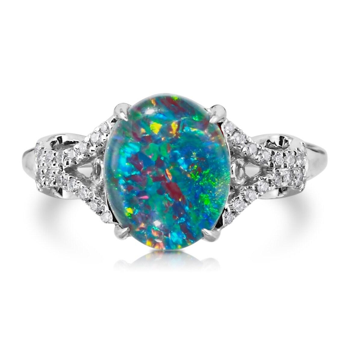 Natural Opal Ring 18k White Gold & 12ct Genuine Diamonds RARE