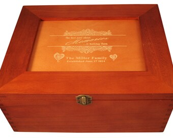 Photo Memory Box laser engraved to your specs. Great for any occasion!