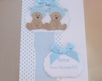 Handmade Birth Card for Twin Boys