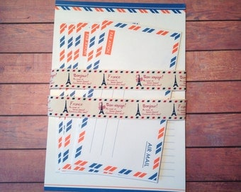 Air mail writing set, stationary set, writing set with ribbon, airmail stationary, airmail letter set, airmail supplies,