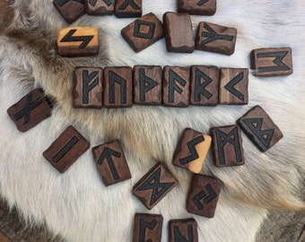 Divination Runes, Casting Runes, Rune Magic, Runes, Futhark - handcrafted 100% black walnut or ash, full set w/ pouch - MADE TO ORDER