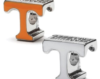"""Tennessee Orange and White """"T"""" Bead Charm Set of Two - Fits Pandora - Stainless Steel"""