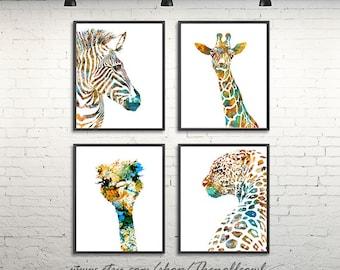 Nursery animal art print, watercolor print, safari wall art, set of 4 prints - H200/H202/H105/H198