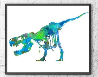 T-Rex Bones Print, dinosaur print, blue dinosaur art, nursery dinosaur, kids dinosaur, watercolor jurassic park- H207