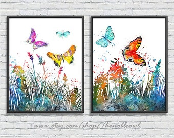 Flower print, butterfly print, watercolor print, nature art, floral wall art, butterfly poster, nursery decor, kids wall decor -  F245