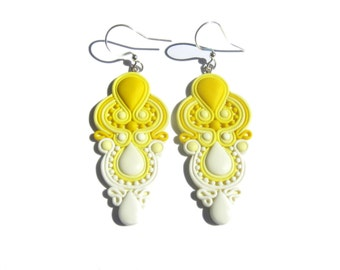 Yellow Earrings, Yellow and White Earrings, Bright Earrings, Polymer Clay Earrings Jewelry, Bright Earrings, Colorful Geometric Earrings