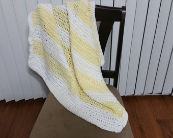 Yellow and White Striped Afghan