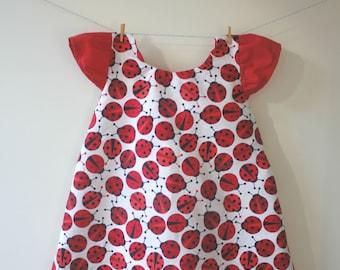 Ladybird dress, ladybug dress, ladybird print, ladybird gift, ladybug print, ladybug gift, capped sleeves, baby dress, toddler dress