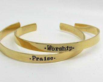 Personalized 2-brass cuff bracelets, stamped brass cuff
