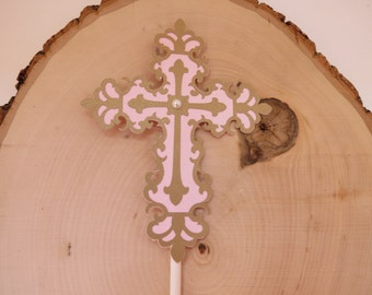 Religious Cross (Baptism / Christening) -  - Cake Topper - Gold and PInk