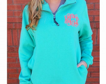 Charles River Monogrammed Quarter Zip Pullover Sweatshirt Monogram Sweater E4